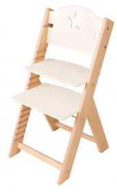 Dětská dřevěná rostoucí židle bílá s hvězdičkou - chytrá židle Sedees