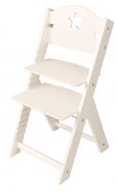 Dětská dřevěná rostoucí židle bílá s hvězdičkou, bílé bočnice - chytrá židle Sedees