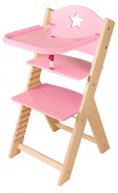 Dětská dřevěná jídelní židlička růžová s hvězdičkou - chytrá židle Sedees