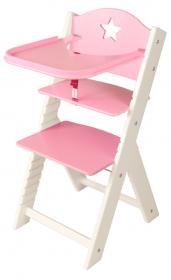 Dětská dřevěná jídelní židlička růžová s hvězdičkou, bílé bočnice - chytrá židle Sedees