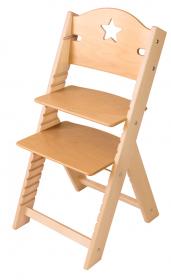 Dětská dřevěná rostoucí židle s hvězdičkou, BEZ POVRCHOVÉ ÚPRAVY - chytrá židle Sedees