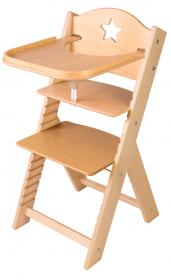 Dětská dřevěná jídelní židlička Sedees s hvězdičkou, bez povrchové úpravy - chytrá židle Sedees