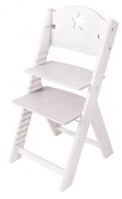 Dětská dřevěná rostoucí židle bílá mořená s hvězdičkou - chytrá židle Sedees