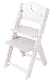 Dětská dřevěná rostoucí židle bílá mořená se srdíčkem - chytrá židle Sedees