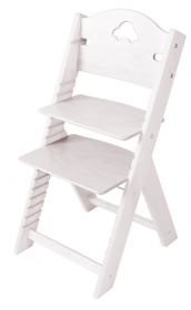Dětská dřevěná rostoucí židle bílá mořená s autíčkem - chytrá židle Sedees