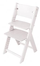 Dětská dřevěná rostoucí židle bílá mořená Line - chytrá židle Sedees