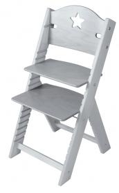 Dětská dřevěná rostoucí židle šedá mořená s hvězdičkou - chytrá židle Sedees