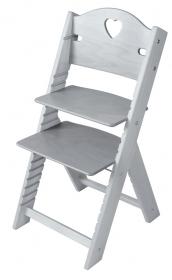 Dětská dřevěná rostoucí židle mořená šedá se srdíčkem - chytrá židle Sedees