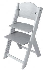Dětská dřevěná rostoucí židle šedá mořená bez obrázku - chytrá židle Sedees