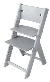 Dětská dřevěná rostoucí židle šedá mořená Line - chytrá židle Sedees