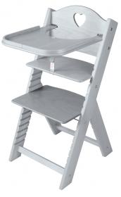 Dětská dřevěná jídelní židlička šedá mořená se srdíčkem - chytrá židle Sedees
