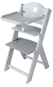 Dětská dřevěná jídelní židlička šedá mořená s korunkou - chytrá židle Sedees