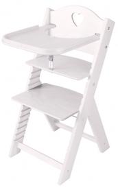 Dětská dřevěná jídelní židlička bílá mořená se srdíčkem - chytrá židle Sedees