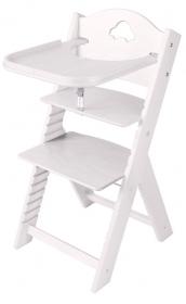 Dětská dřevěná jídelní židlička bílá mořená s autíčkem - chytrá židle Sedees