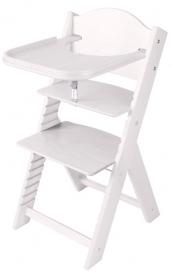 Dětská dřevěná jídelní židlička bílá mořená bez obrázku - chytrá židle Sedees