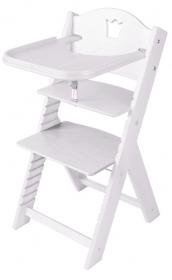 Dětská dřevěná jídelní židlička bílá mořená s korunkou - chytrá židle Sedees