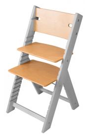 Dětská dřevěná rostoucí židle lakovaná a šedá mořená Line - chytrá židle Sedees