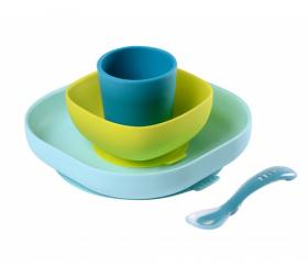 BEABA jídelní sada silikonová 4-dílná BLUE