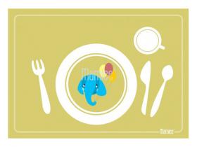 Prostírání pro nácvik stolování - zelené se slonem