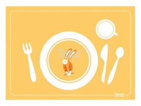 Mamiee Prostírání pro nácvik stolování - žluté se zajíčkem