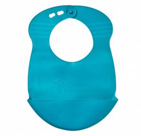 Rolovací plastový bryndáček Explora - modrý