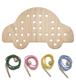 Dřevěná provlékačka - autíčko Sedees