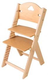 Chytrá rostoucí židle Sedees s autíčkem - olejovaná přírodní