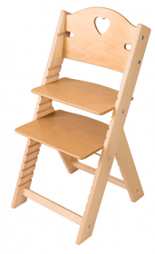 Chytrá rostoucí židle Sedees se srdíčkem - olejovaná přírodní