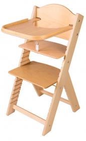 Dětská dřevěná jídelní židlička Sedees bez obrázku, bez povrchové úpravy - chytrá židle Sedees