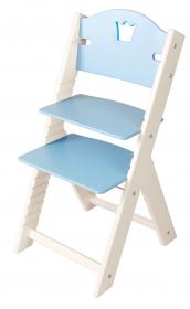 Dětská dřevěná rostoucí židle modrá s korunkou, bílé bočnice - chytrá židle Sedees
