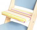 Pruhovaný podsedák na modré rostoucí židli Sedees