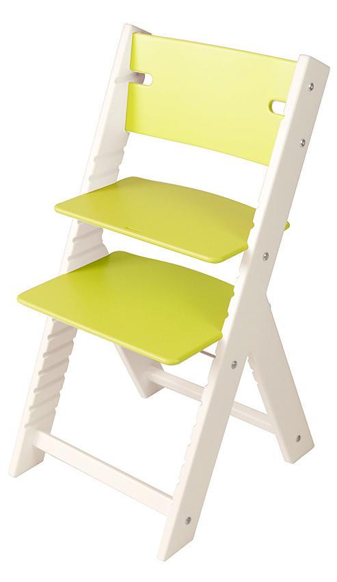 Chytrá rostoucí židle Sedees Line zelená, bílé bočnice