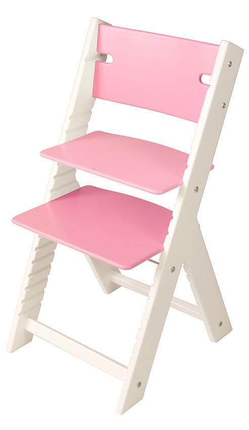 Chytrá rostoucí židle Sedees Line růžová, bílé bočnice