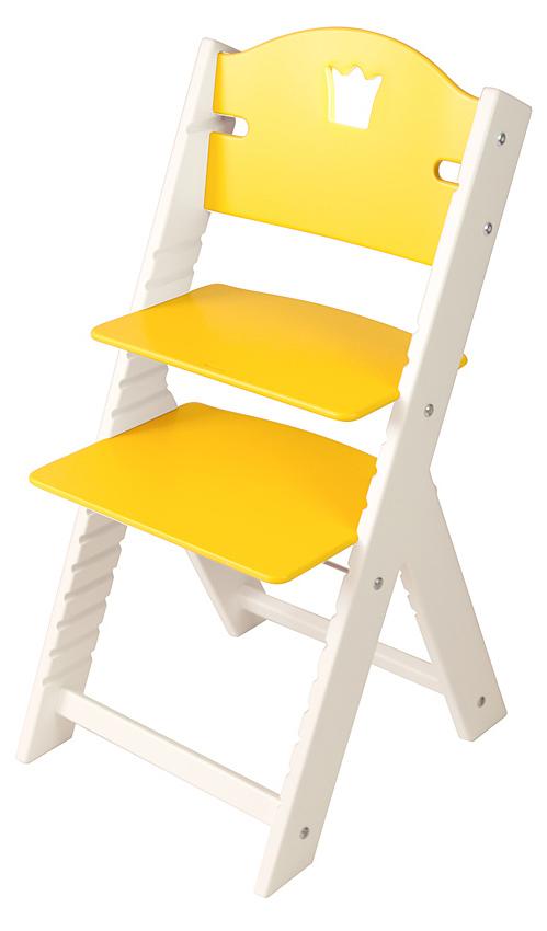 Dětská dřevěná rostoucí židle žlutá s korunkou, bílé bočnice - chytrá židle Sedees