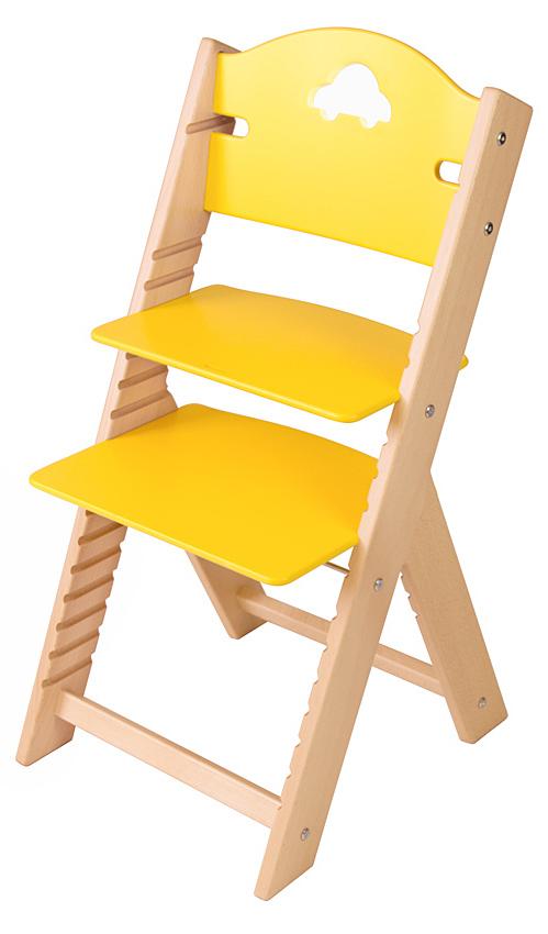 Dětská dřevěná rostoucí židle žlutá s autíčkem - chytrá židle Sedees