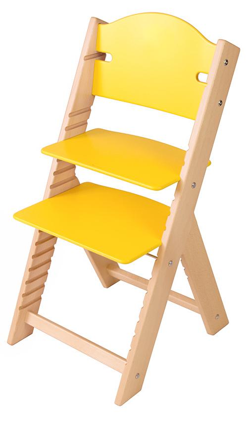Dětská dřevěná rostoucí židle žlutá bez obrázku - chytrá židle Sedees