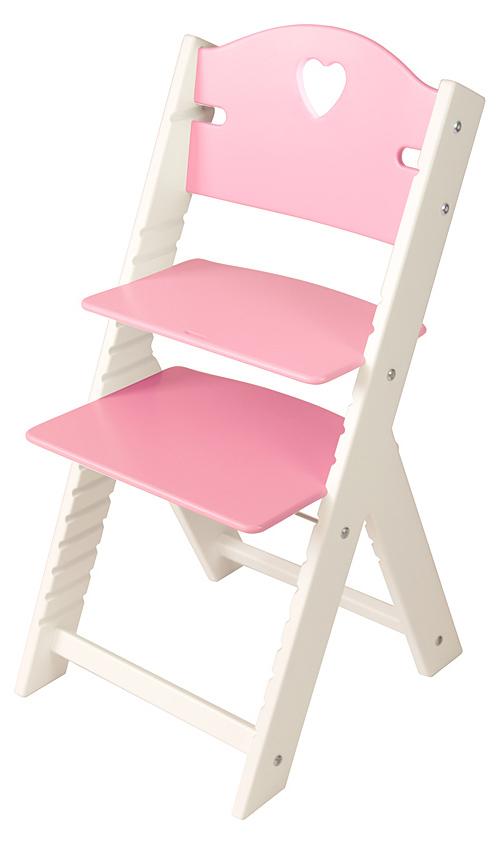 Dětská dřevěná rostoucí židle růžová se srdíčkem, bílé bočnice - chytrá židle Sedees