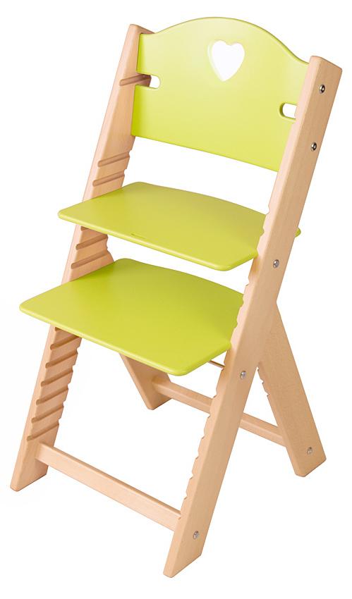 Dětská dřevěná rostoucí židle zelená se srdíčkem - chytrá židle Sedees