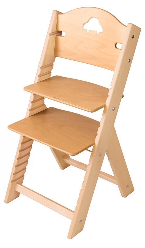 Dětská dřevěná rostoucí židle přírodní s autíčkem - chytrá židle Sedees