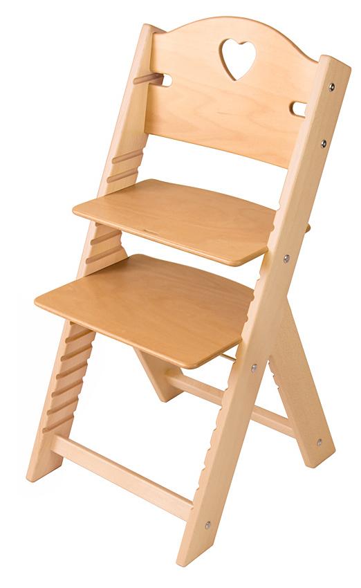 Dětská dřevěná rostoucí židle přírodní se srdíčkem - chytrá židle Sedees