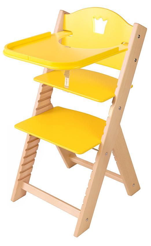 Dětská dřevěná jídelní židlička žlutá s korunkou - chytrá židle Sedees