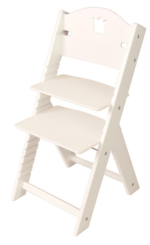 Dětská dřevěná rostoucí židle bílá s korunkou, bílé bočnice - chytrá židle Sedees