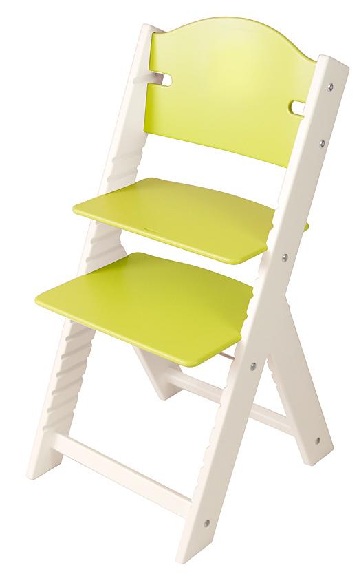 Dětská dřevěná rostoucí židle zelená bez obrázku, bílé bočnice - chytrá židle Sedees