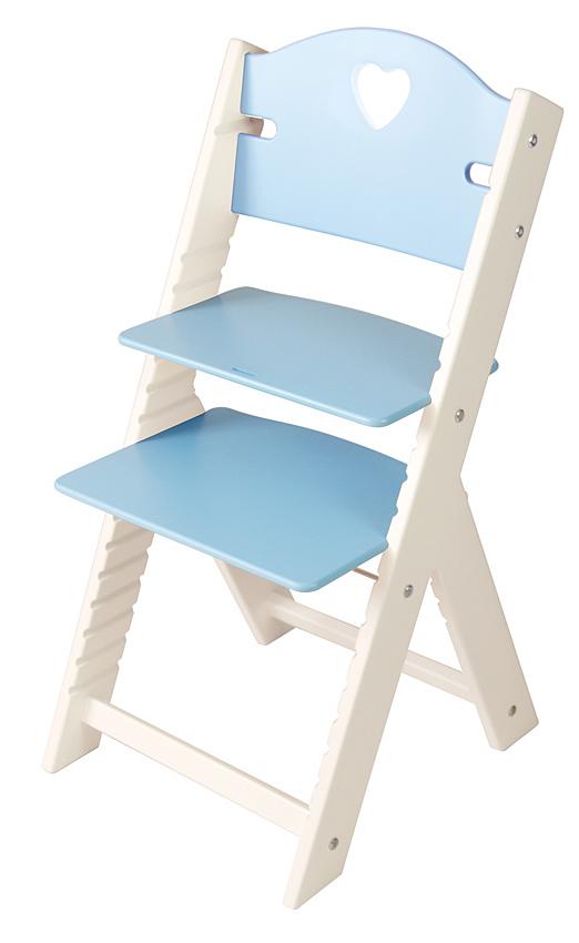 Dětská dřevěná rostoucí židle modrá se srdíčkem, bílé bočnice - chytrá židle Sedees