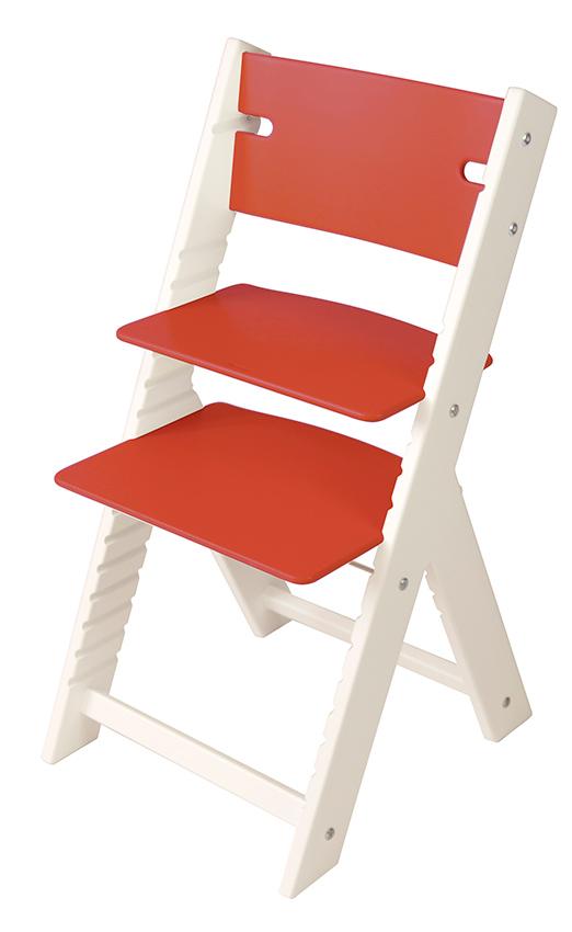 Chytrá rostoucí židle Sedees Line červená, bílé bočnice
